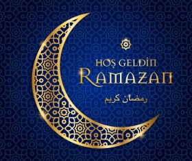 Ramazan background with golden moon vector 12