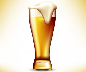 Realistic beer glass design vector 01