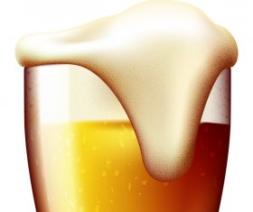 Realistic beer glass design vector 02