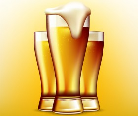 Realistic beer glass design vector 03