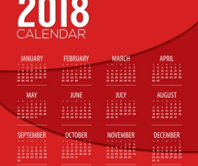 Red 2018 calendar template design vector 01