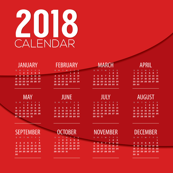 Calendar Design Free Vector : Red calendar template design vector