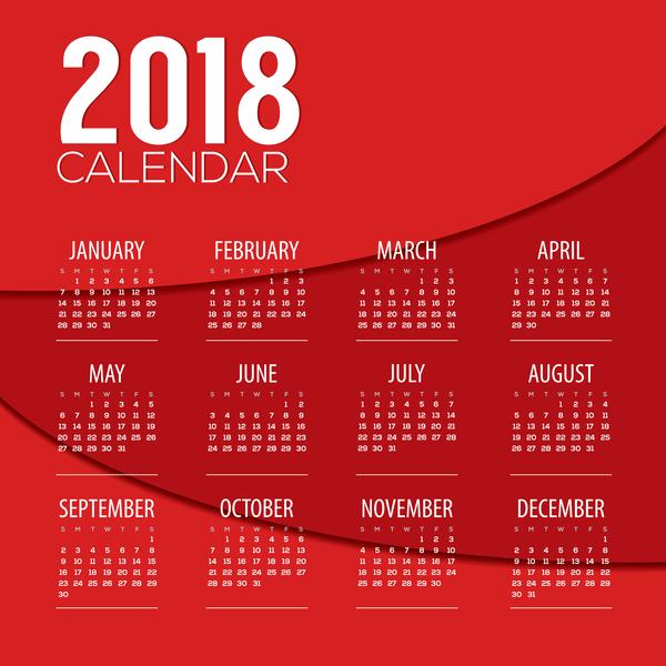 Red 2018 calendar template design vector 01