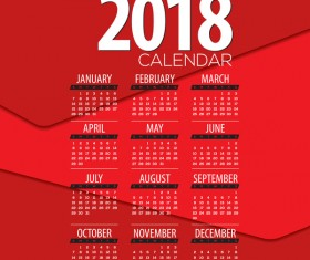 Red 2018 calendar template design vector 02