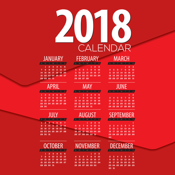 Red 2018 Calendar Template Design Vector 02 Free Download