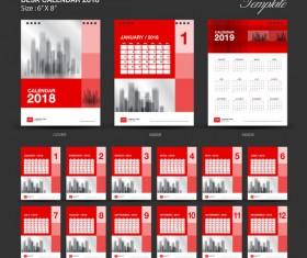 Red Desk Calendar 2018 vector template