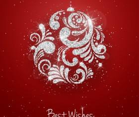 Red christmas background with silver baubles vector