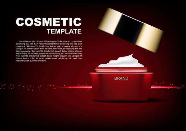 Red cosmetic cream poster template and dark red background vector 01