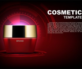 Red cosmetic cream poster template and dark red background vector 02