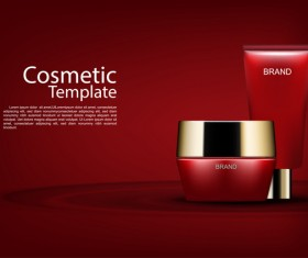 Red cosmetic cream poster template and dark red background vector 03