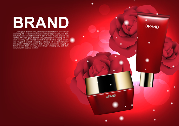 Red cosmetic set with red roses ads template vector 01