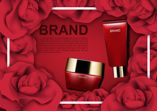 Red cosmetic set with red roses ads template vector 03