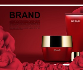 Red cosmetic set with red roses ads template vector 04