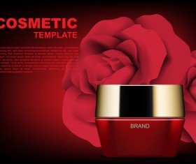 Red cosmetic set with red roses ads template vector 05