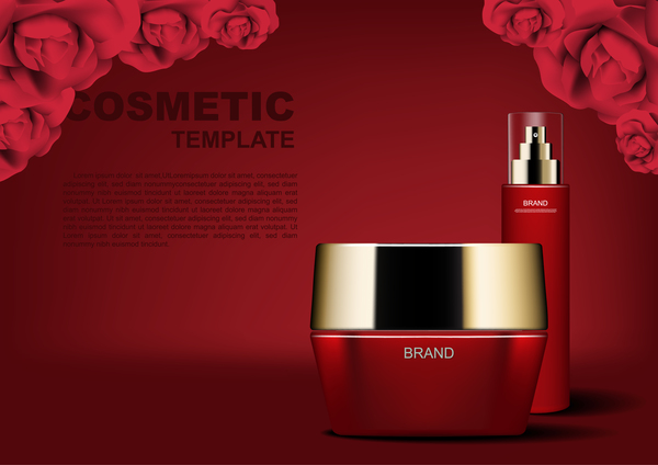 Red cosmetic set with red roses ads template vector 06