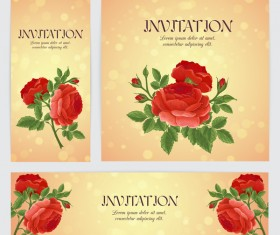 Red rose banner with card template vector