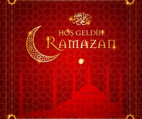 Red styles ramazan background vector 01