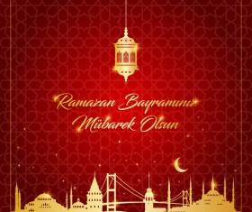 Red styles ramazan background vector 02