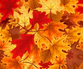 Red with golden autumn leaves background vector