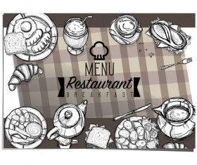 Restawrant breakfast menu cover vector