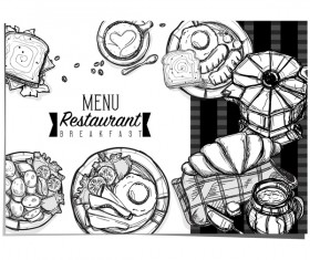 Restaurant breakfast menu template vector