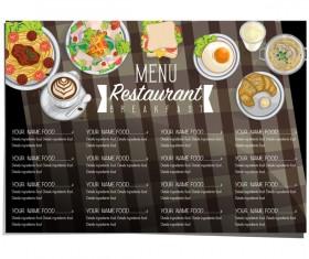 Restawrant breakfast menu with price list vector design 03