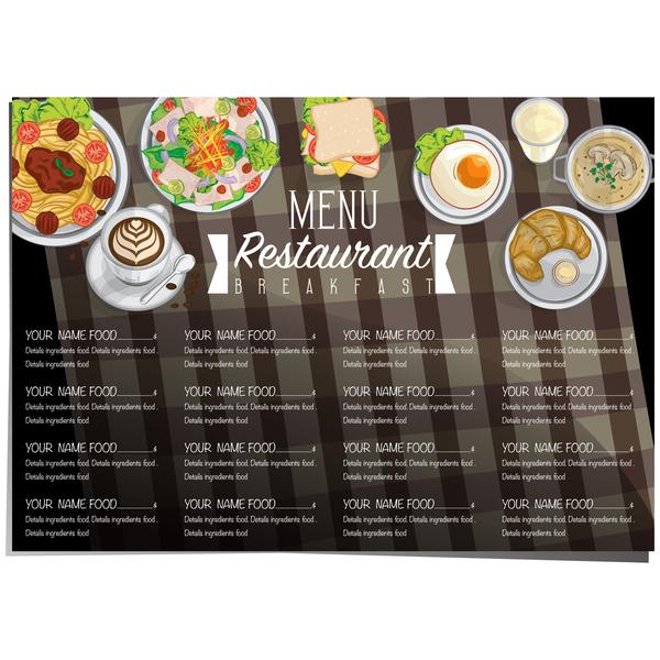 restawrant breakfast menu with price list vector design 03 free download
