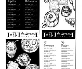 Restawrant breakfast menu with price list vector design 06