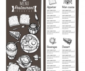 Restawrant breakfast menu with price list vector design 08