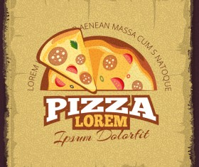 Retor pizza menu cover vector material