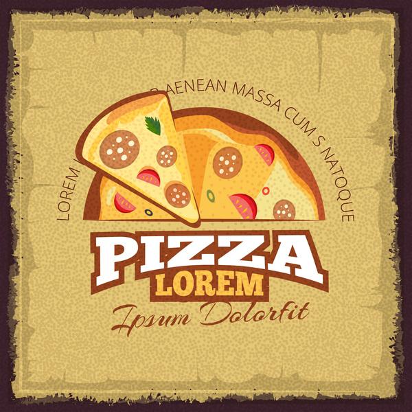 Retor pizza menu cover vector material