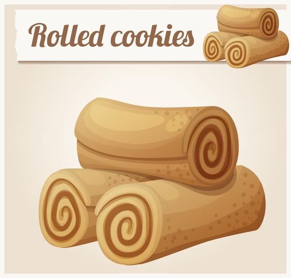 Rolled cookies vector