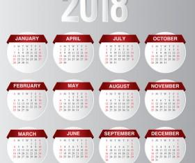 Round calendar 2018 card vector