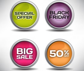 Round metal special offer button vector