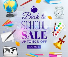 Sale background with school elements vector