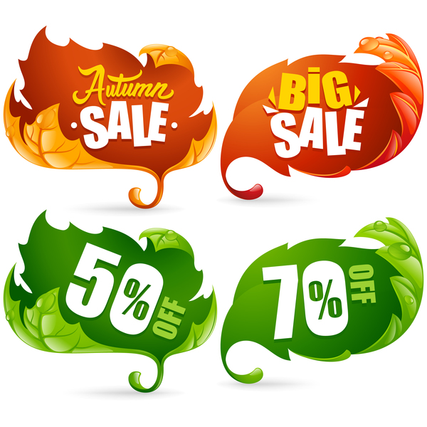 Sale labels with autumn leaves vector