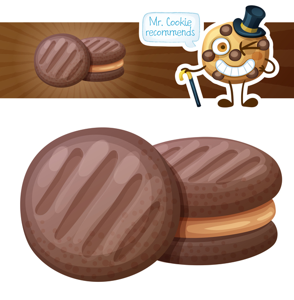 Sandwich chocolate cookies vector