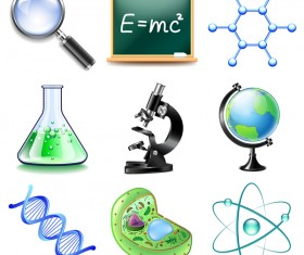 Science icons realistic vector set