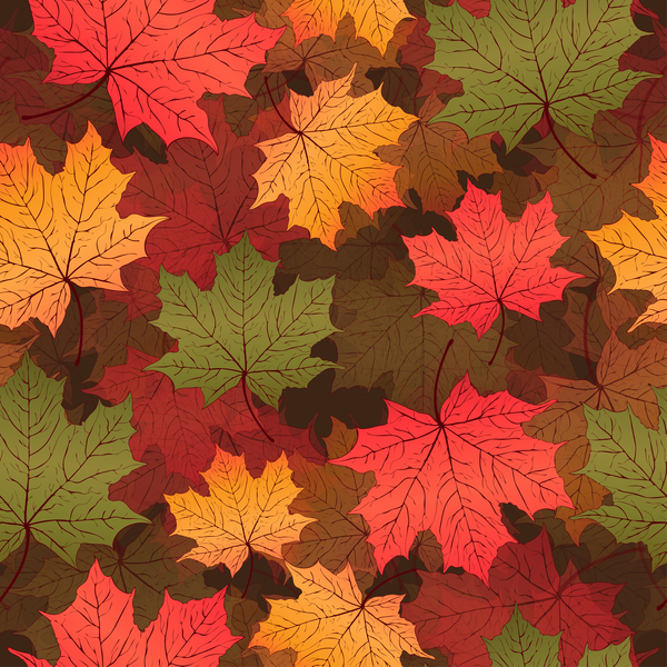 Seamless autumn leaves pattern vectors material 01