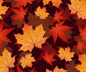 Seamless autumn leaves pattern vectors material 02