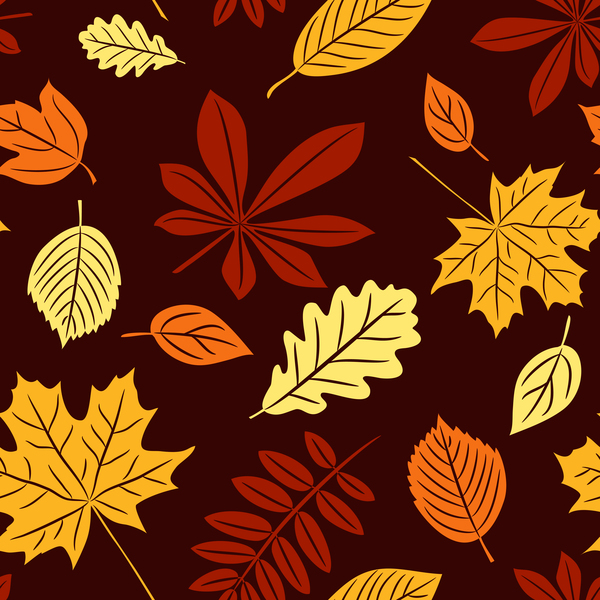 Seamless autumn leaves pattern vectors material 03