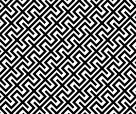 Seamless black with white art pattern vector 07