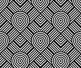 Seamless black with white art pattern vector 08