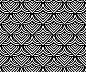 Seamless black with white art pattern vector 09