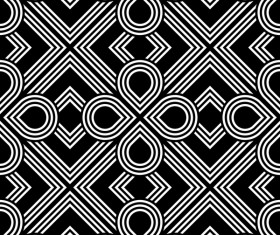 Seamless black with white art pattern vector 12