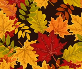 Seamless leaves autumn pattern vector