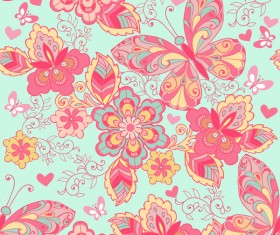 Seamless ornament with pink butterflies and blue background vector