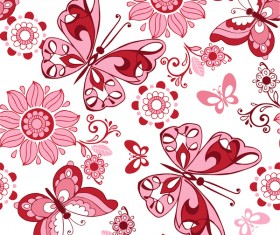 Seamless pattern of bright butterflies and flowers vector