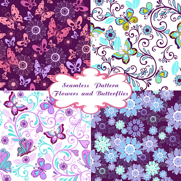 Seamless pattern with flowers and butterflies vector material