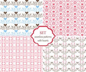Seamless patterns with hearts and butterflies vectors material